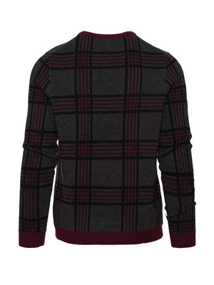 Crew Neck Sweater - Charcoal Maroon Check