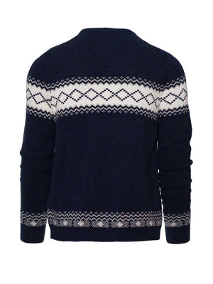 Crew Neck Sweater - Navy & Cream Lodge