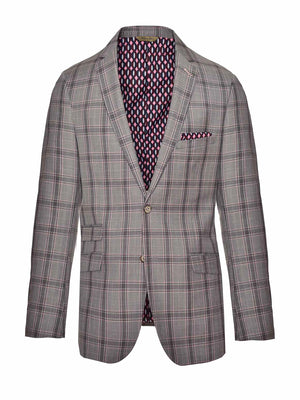 Ltd Edition Dover Notch Jacket - Slim - Light Pink Grey Plaid
