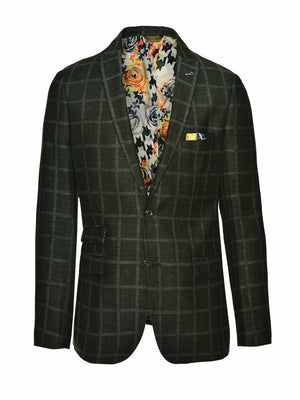 Ltd Edition Ashton Peak Jacket - Slim - Green Windowpane