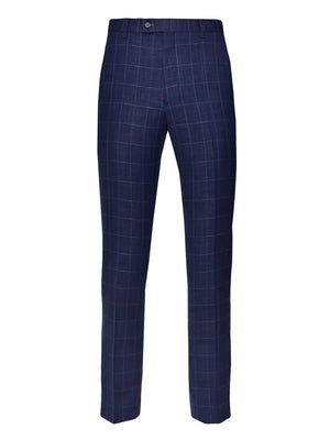 Ltd Edition Downing Pants - Slim - Navy Light Blue Windowpane