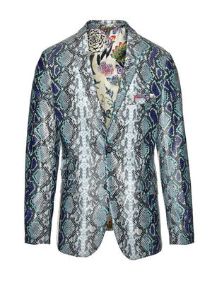 Ltd Edition Dover Notch Jacket - Slim - Blue Grey Snake Skin