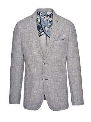 Dover Notch Jacket - Slim - Navy Cream Single Basket Weave