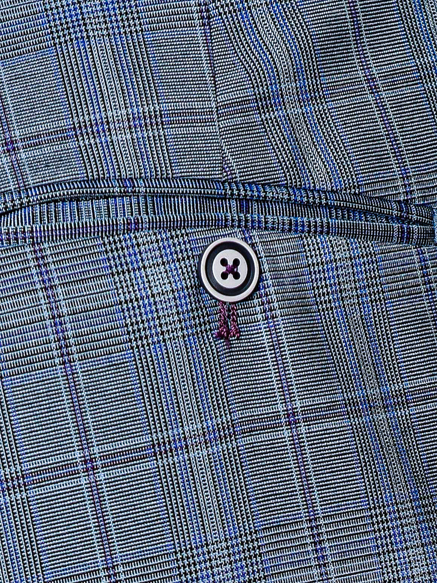 Downing Pants  - Periwinkle & Purple Plaid