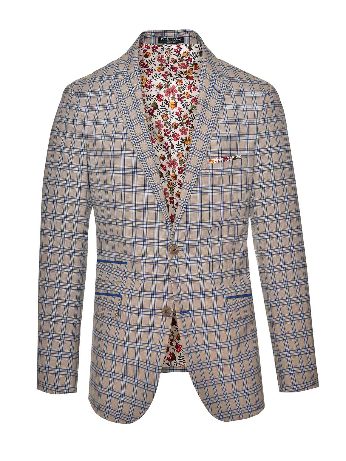 Dover Notch Jacket - Slim - French Blue Tan Plaid