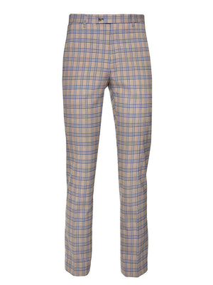 Downing Pants - Slim - French Blue Tan Plaid