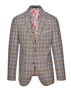 Dover Notch Jacket - Slim - Pink Yellow Plaid