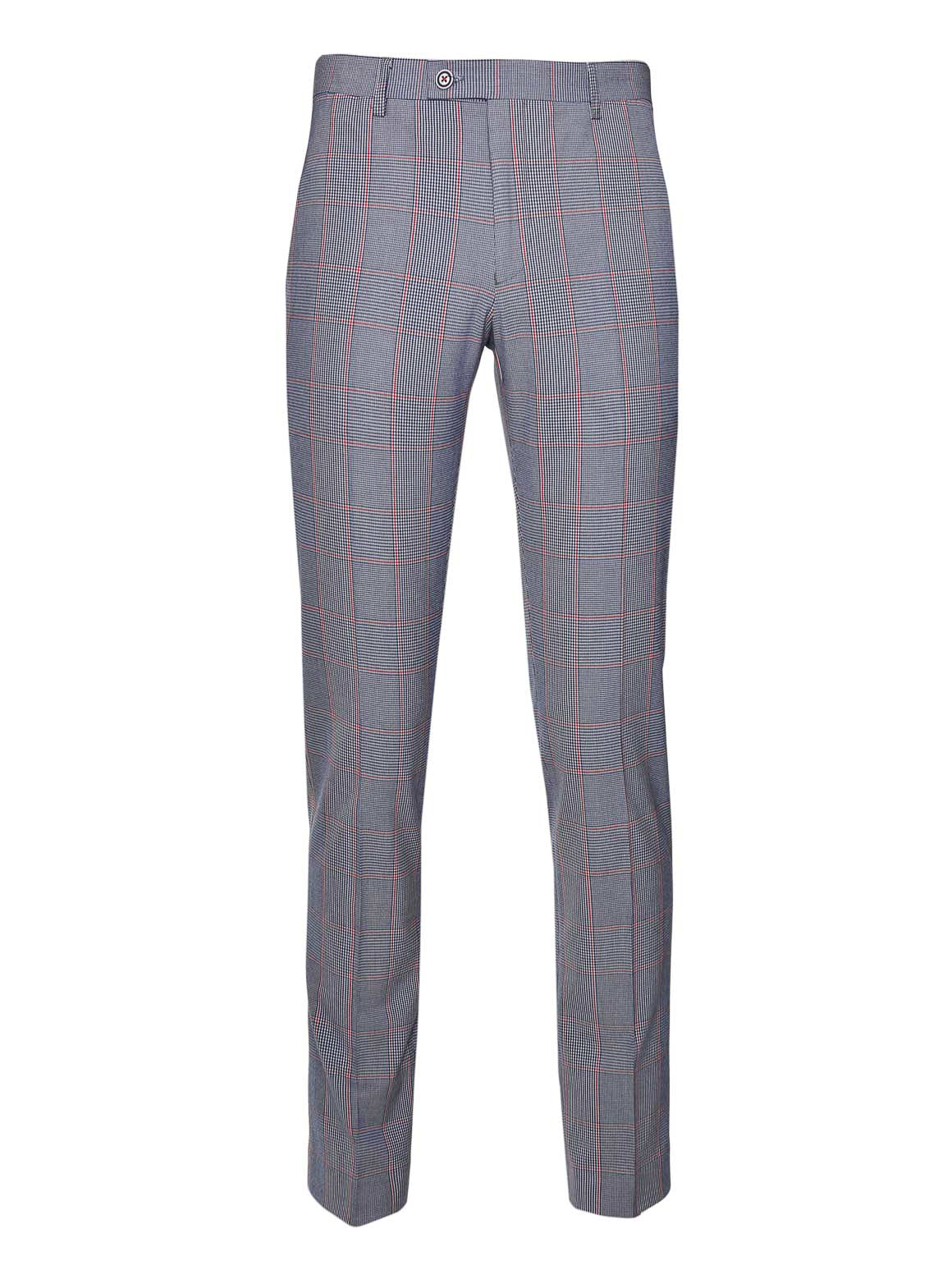 Camden Skinny Fit Pants  - Blue Red Window Plaid