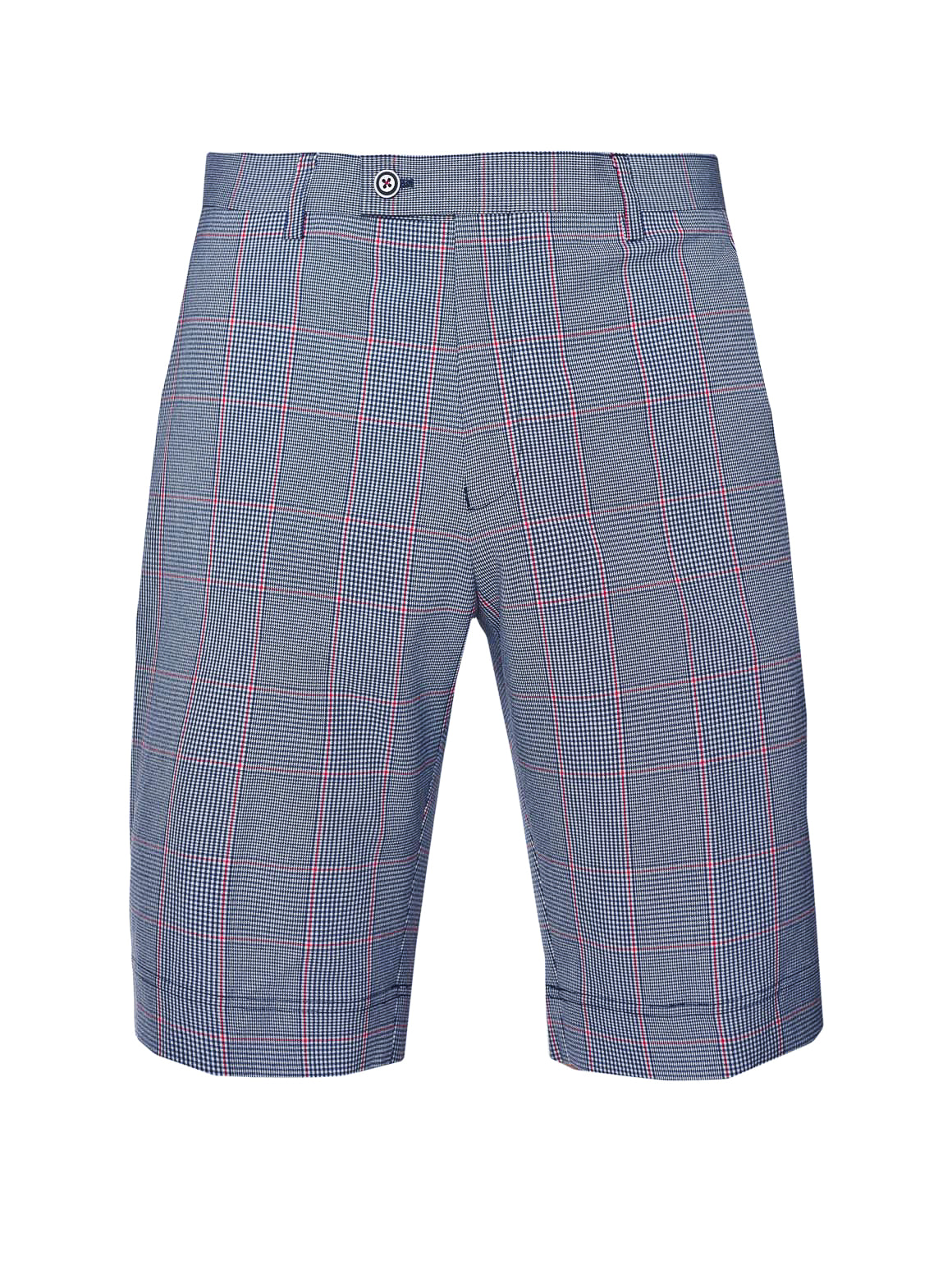 Fairfax Skinny Fit Shorts  - Blue Red Window Plaid