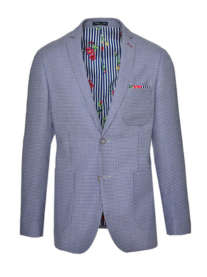 Dover Notch Jacket  - Blue White Double Basket Weave