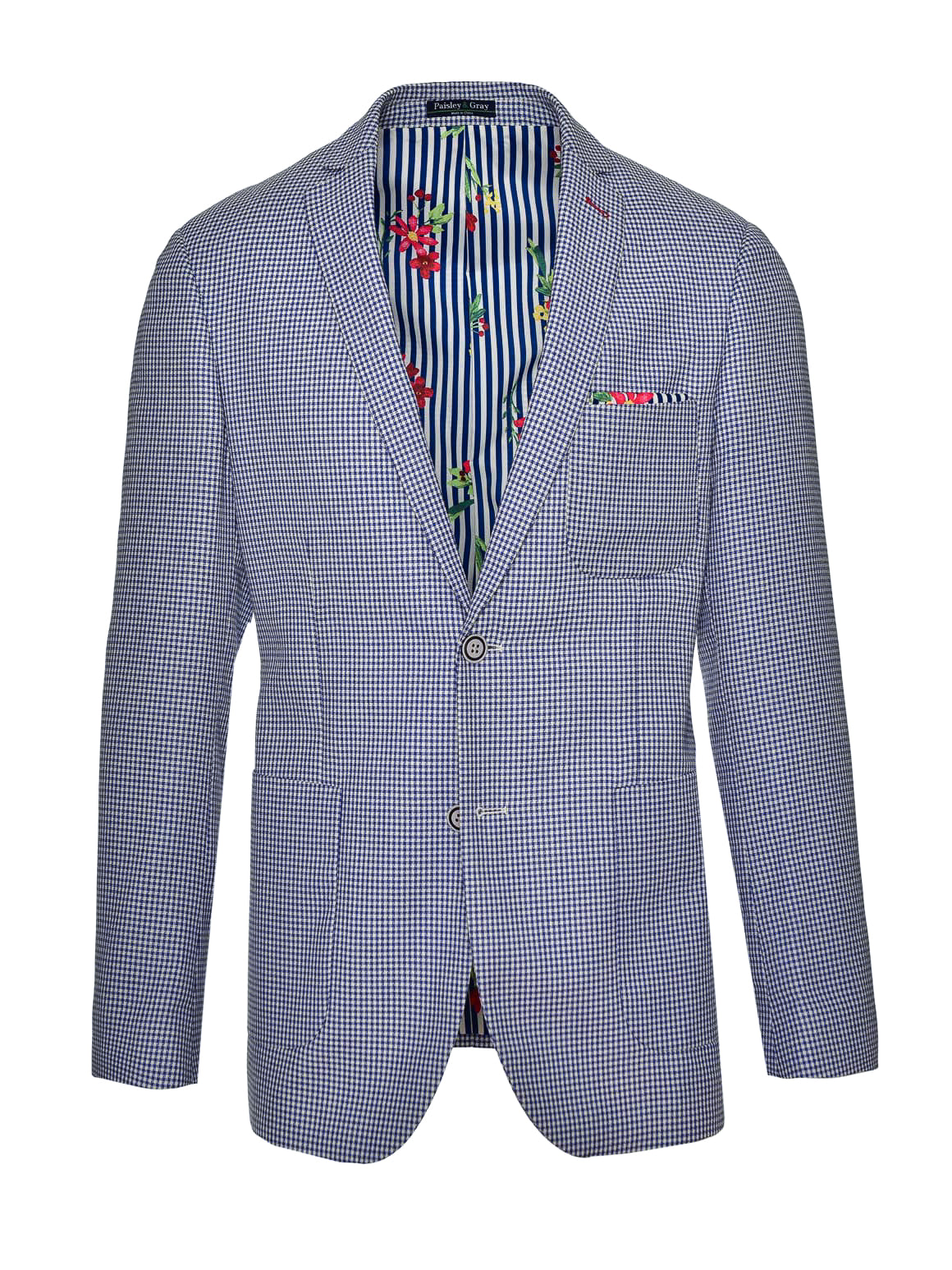 Dover Notch Jacket - Slim - Blue White Double Basket Weave