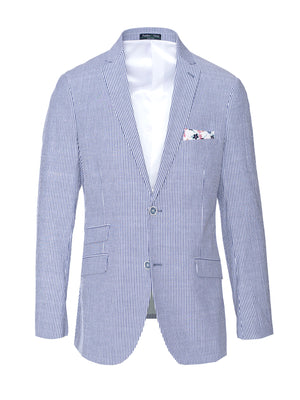 Dover Notch Jacket - Slim - Blue White Seersucker