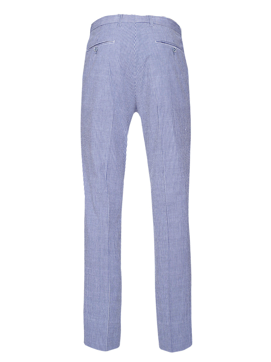 Downing Pants - Slim - Blue White Seersucker