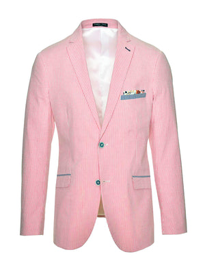 Dover Notch Jacket - Slim - Pink & White Seersucker
