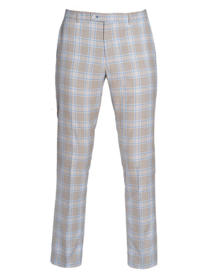 Downing Pants  - Slim - Beige Cream Light Blue Check