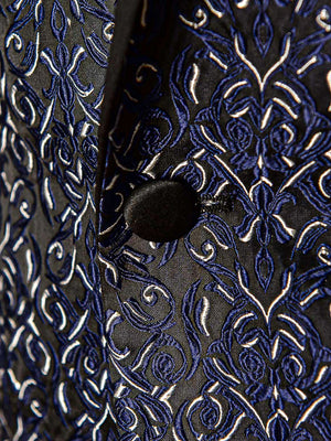 Grosvenor Peak Tuxedo Jacket - Slim - Black Navy Cream Brocade