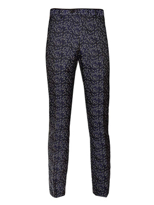 Sloane Tuxedo Pants  - Black Navy Cream Brocade