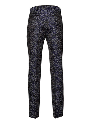 Sloane Tuxedo Pants - Slim - Black Navy Cream Brocade