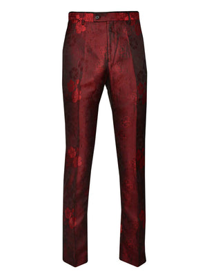Sloane Tuxedo Pants  - Deep Red Flower Jacquard