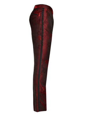Sloane Tuxedo Pants - Slim - Deep Red Flower Jacquard