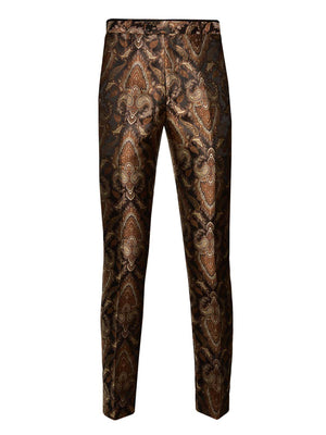 Sloane Tuxedo Pants  - Brown & Gold Paisley