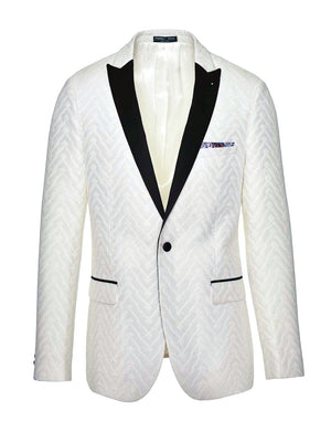 Grosvenor Peak Tuxedo Jacket - Slim - White Tonal Geo