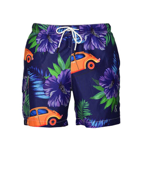 Gilligan Swim Trunks - Navy Purple Floral Car
