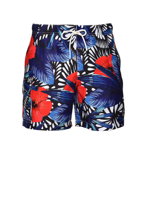Gilligan Swim Trunks - Red Blue Floral