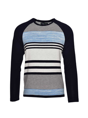 Long Sleeve Baseball T Shirt- Navy Aqua Stripe