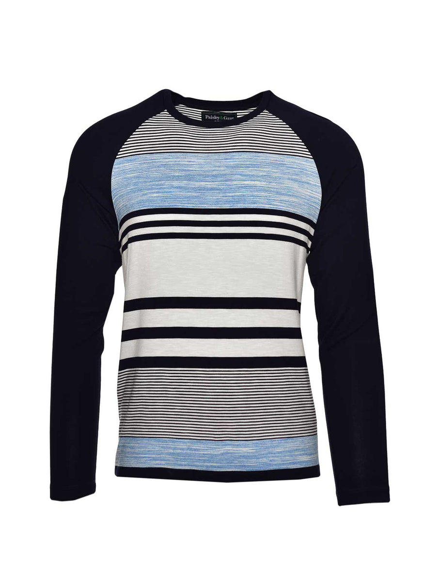 Long Sleeve Baseball T Shirt- Navy & Aqua Stripe