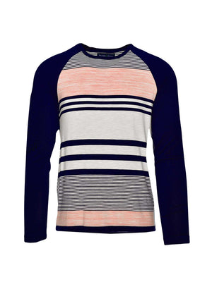 Long Sleeve Baseball T Shirt- Navy Peach Stripe