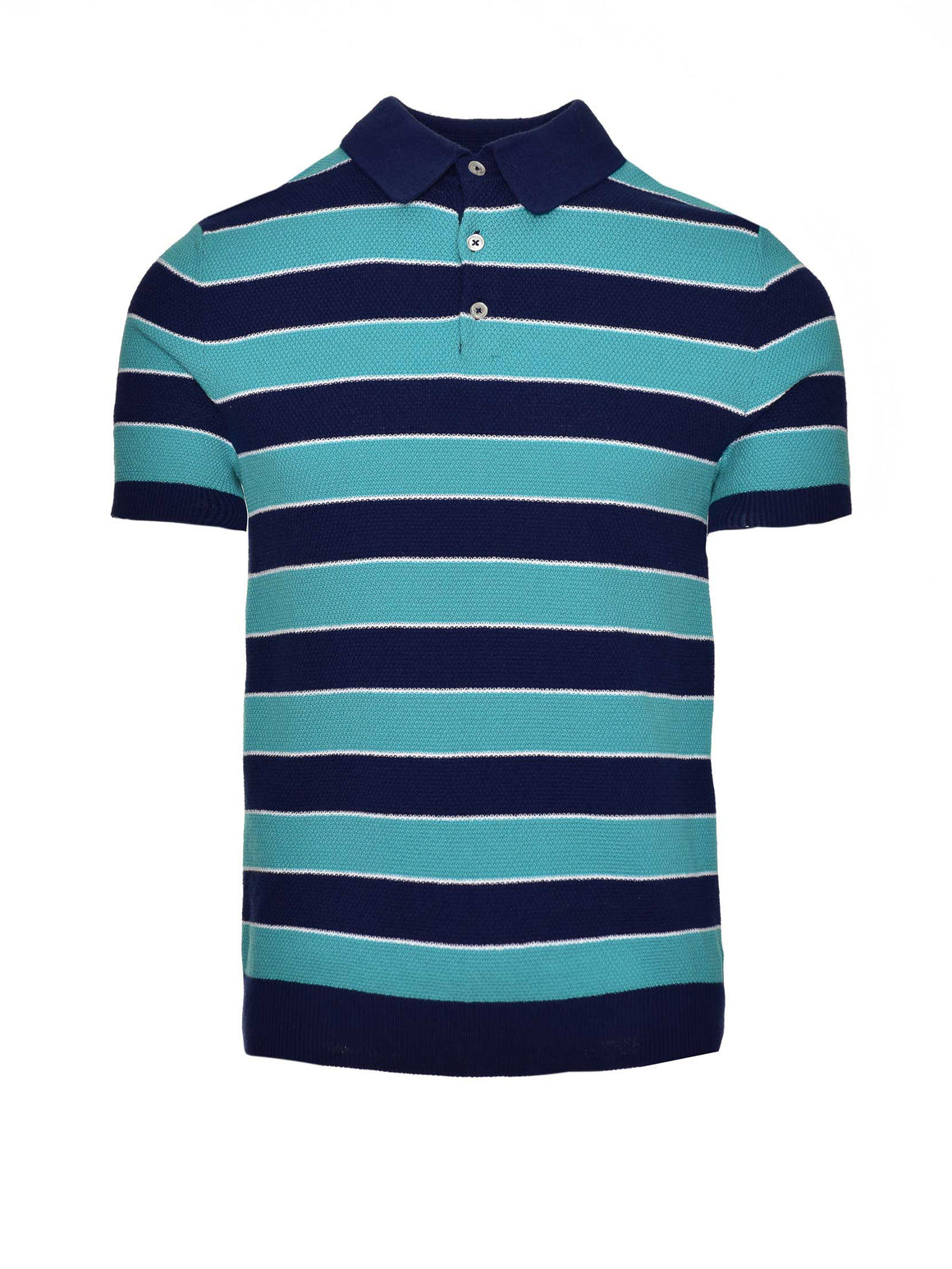 Stripe Polo - Navy & Teal