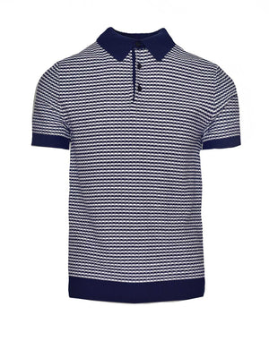 Mini Stripe Polo - Navy White
