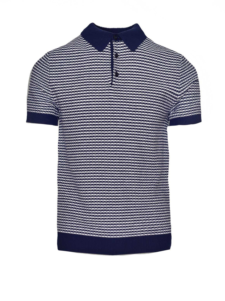 Mini Stripe Polo - Navy & White