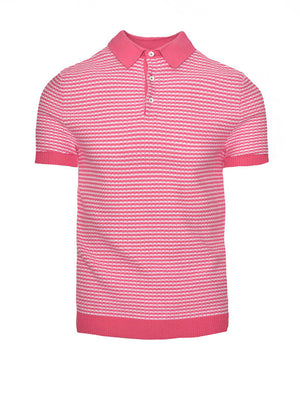 Mini Stripe Polo - Pink/White