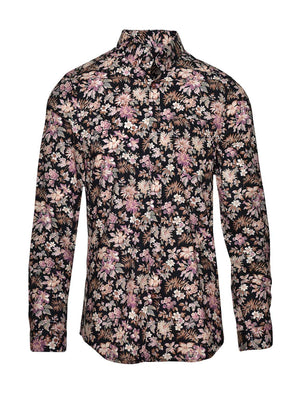 Long Sleeve Shirt- Black Purple Flower