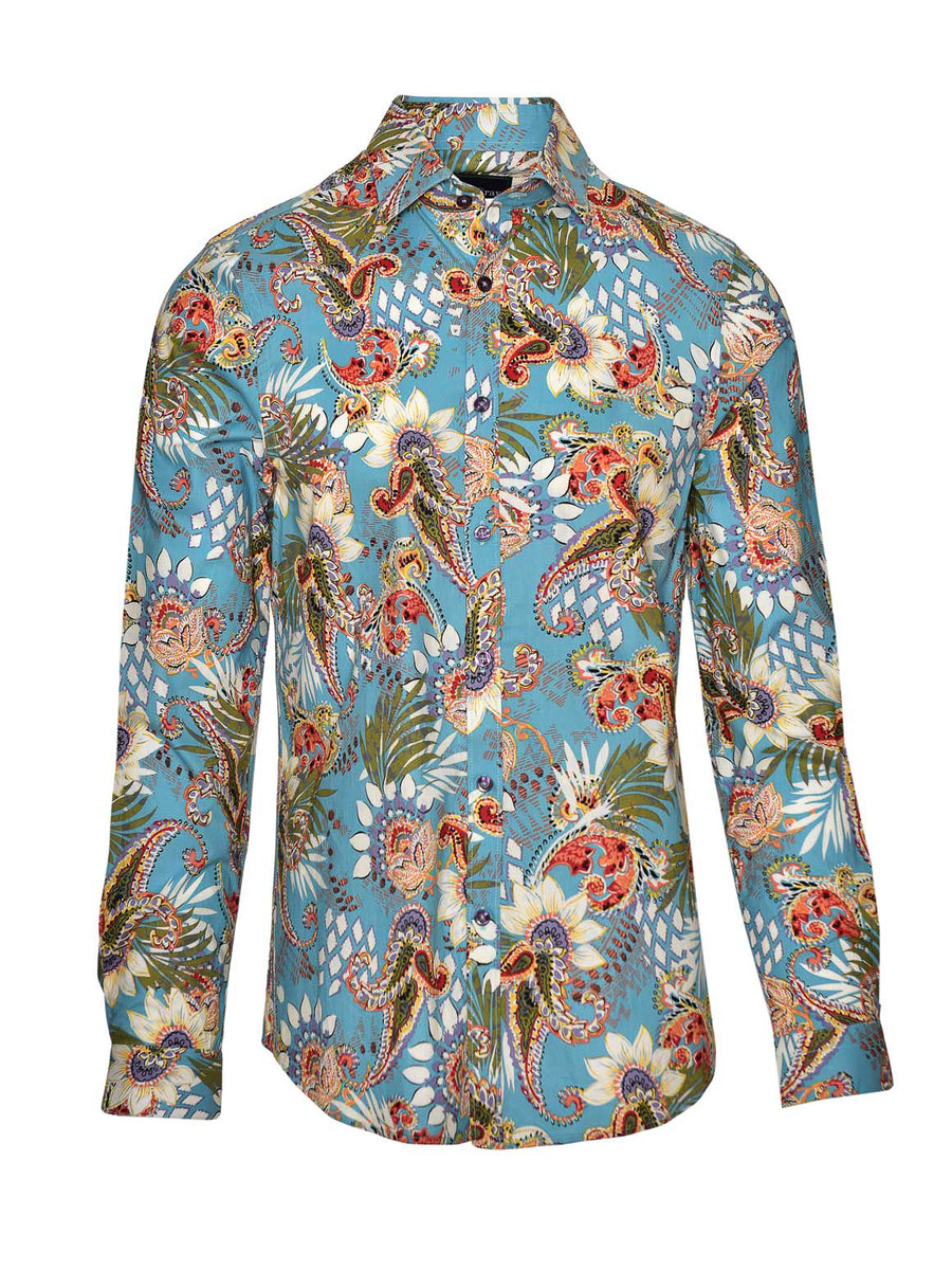 Long Sleeve Shirt - Teal Floral Paisley