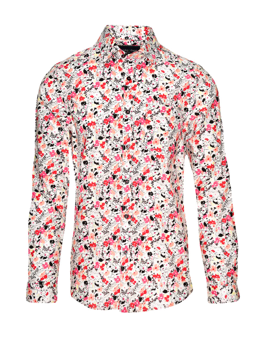 Long Sleeve Shirt - Yellow Pink Floral