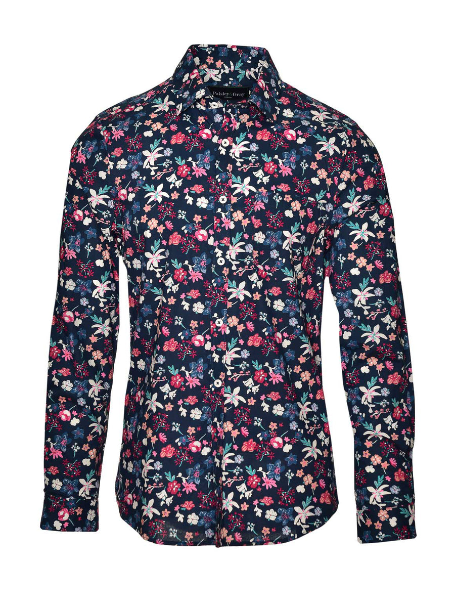 Long Sleeve Shirt - Navy Floral