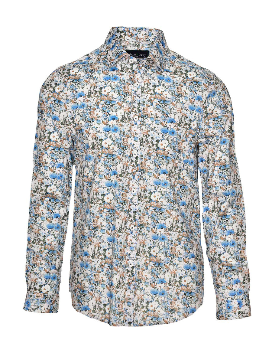 Long Sleeve Shirt - Blue Floral