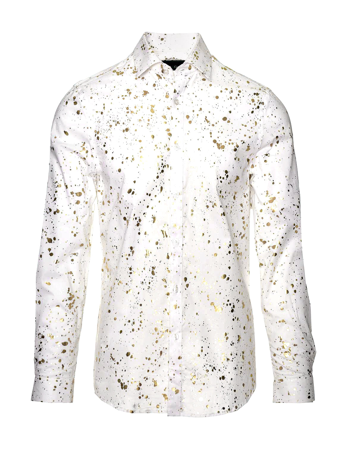 Long Sleeve Shirt - White & Gold Splatter