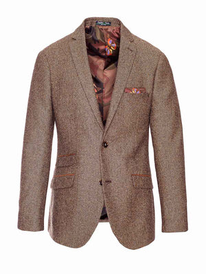 Dover Notch Jacket - Slim - Chocolate Herringbone