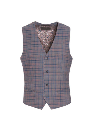 Ltd Edition Eaton Vest - Slim - Cinnamon Teal Check