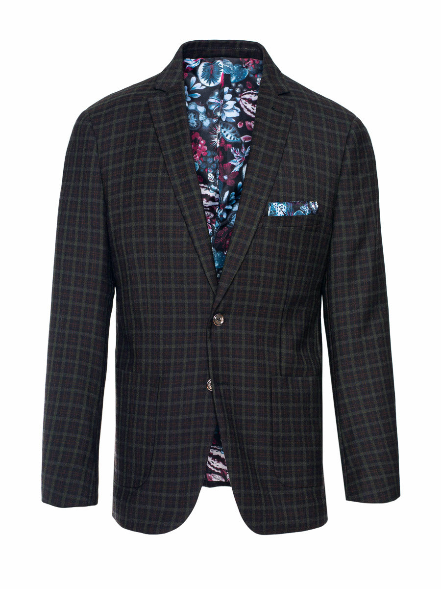 Ltd Edition Dover Notch Jacket - Slim - Forest Berry Check