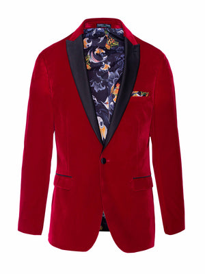 Grosvenor Peak Tuxedo Jacket - Slim - Crimson Velvet