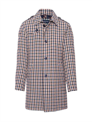 Trench Coat - Blue Chestnut Houndstooth