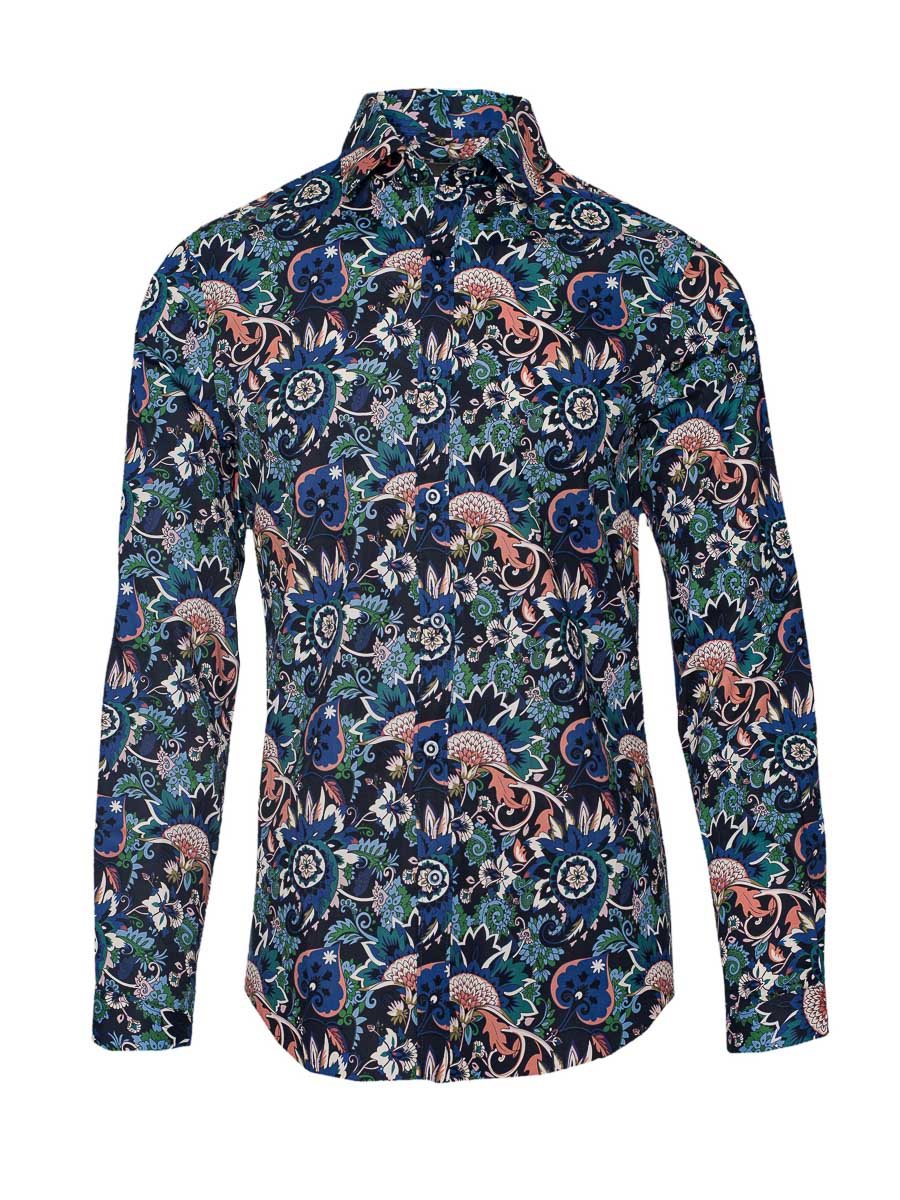 Ltd Edition Spread Collar Shirt - Blue Nutmeg Paisley