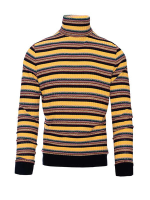 Printed Knit Turtleneck - Retro Stripe