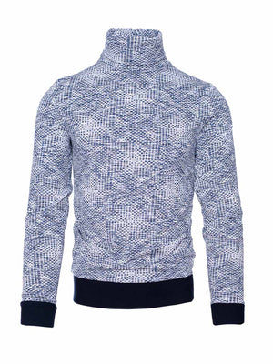Knit Turtleneck - Navy Cream Geo