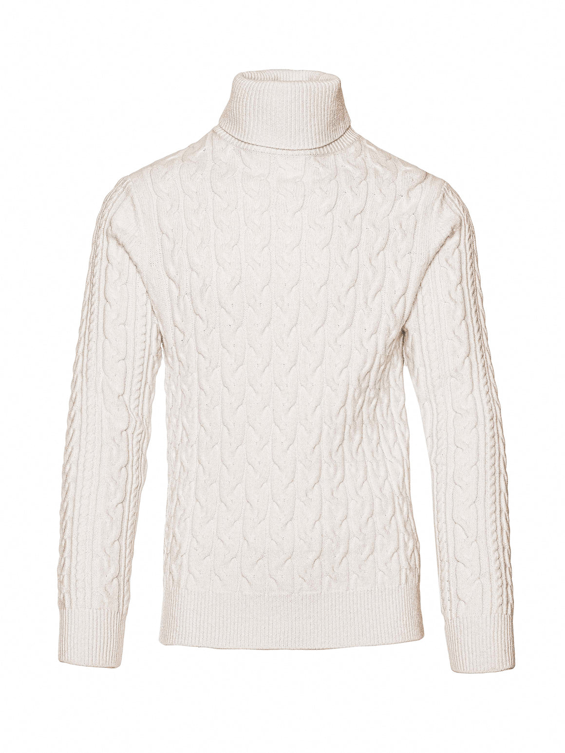 Chunky Cable Turtleneck - Vanilla Shake